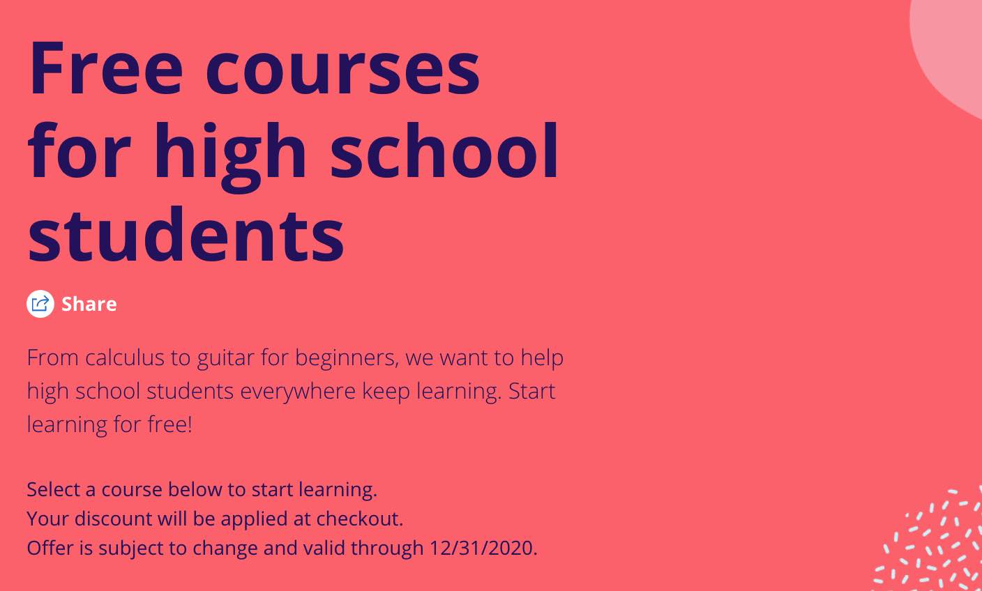 Courses For High School Students